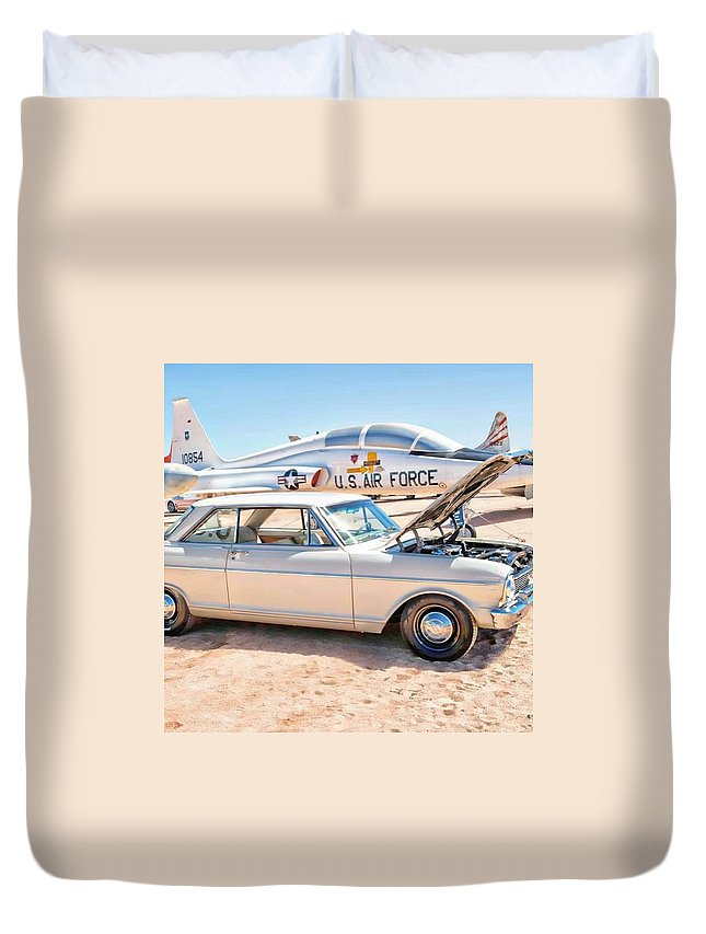 Arizona Duvet Cover featuring the photograph Vintage Auto At Pima Air And Space by Michael Moriarty