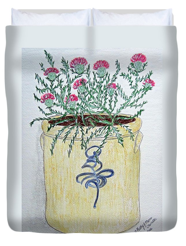 Vintage Duvet Cover featuring the painting Vintage Bee Sting Crock And Thistles by Kathy Marrs Chandler