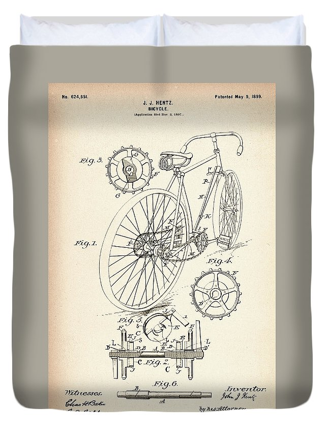 Bicycle Duvet Cover featuring the photograph Vintage Bicycle - Patent Drawing For The 1899 J. J. Hentz Bicycle by Jose Elias - Sofia Pereira