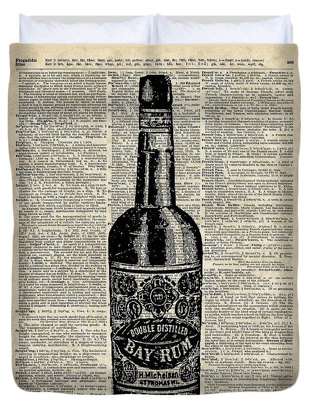 Bottle Duvet Cover featuring the digital art Vintage Bottle Of Rum Over Antique Book Page by Anna W
