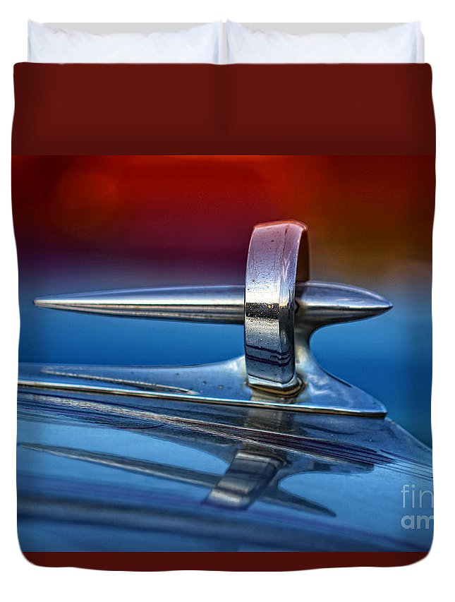 Car Duvet Cover featuring the photograph Vintage Buick Hood Ornament by Anna Sheradon