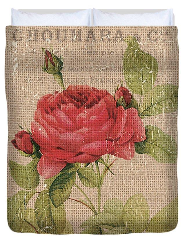 Floral Duvet Cover featuring the painting Vintage Burlap Floral by Debbie DeWitt