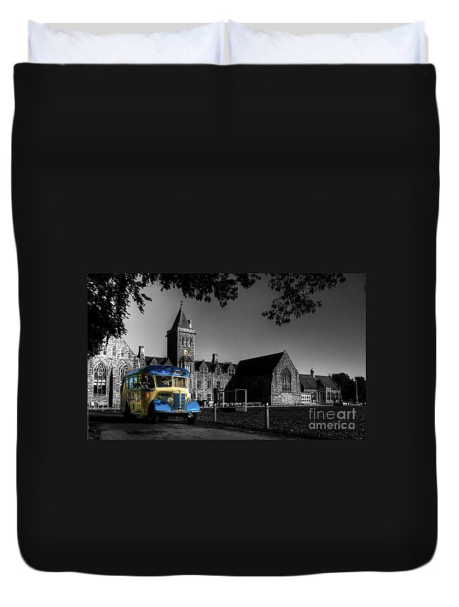 Bus Duvet Cover featuring the photograph Vintage Bus At Taunton School by Rob Hawkins