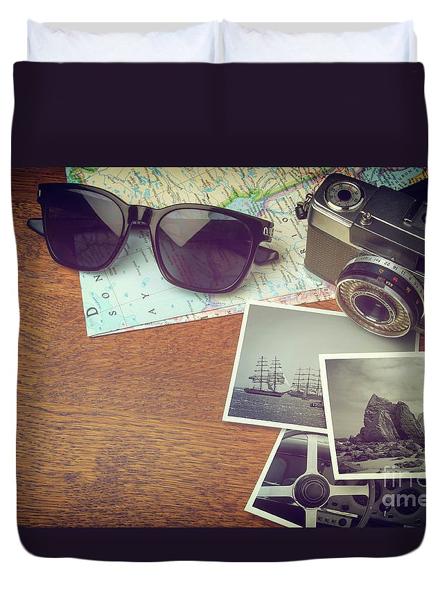 Photo Duvet Cover featuring the photograph Vintage Camera And Map by Carlos Caetano