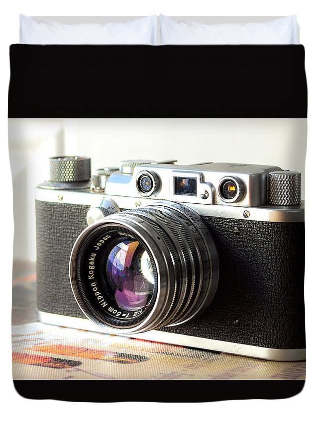 Vintage Camera Duvet Cover featuring the photograph Vintage Camera C10a by Otri Park
