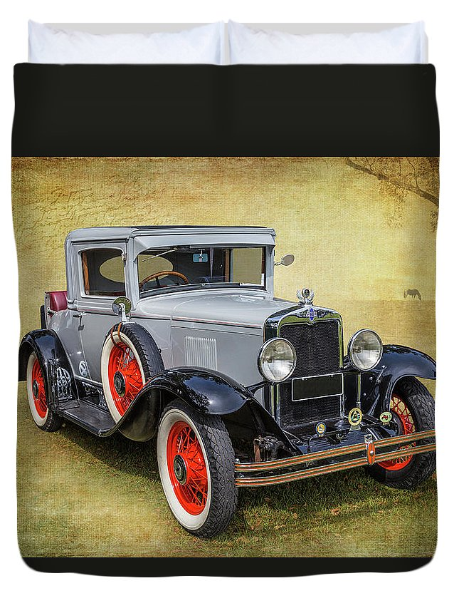 Car Duvet Cover featuring the photograph Vintage Chev by Keith Hawley