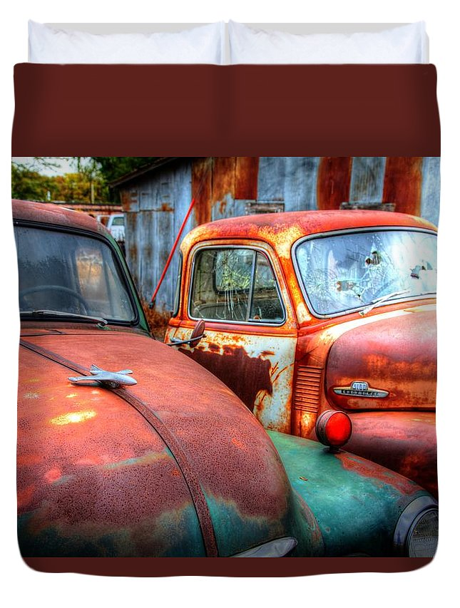 Trucks Duvet Cover featuring the photograph Vintage Chevy Trucks by Val Niles