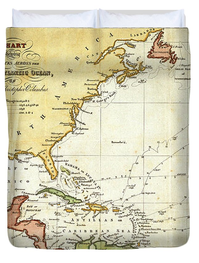 Vintage Christopher Columbus Voyage Map Duvet Cover on bartolomeu dias, columbus journey map, jacques marquette map, jacques cartier map, william shakespeare, james cook, francisco coronado map, world map, sir francis drake map, marco polo, columbus day, columbus 1492 voyage map, jacques cartier, samuel de champlain, henry hudson map, henry 8 map, john cabot map, ferdinand magellan, vasco da gama, columbian exchange, atlantic ocean map, john cabot, michael jackson map, galileo galilei, columbus trips map, spain map, james i of england map, henry hudson, francis drake, juan ponce de leon map, amerigo vespucci, hernando de soto, samuel de champlain map, ferdinand magellan map, william smith's map, marco polo map,
