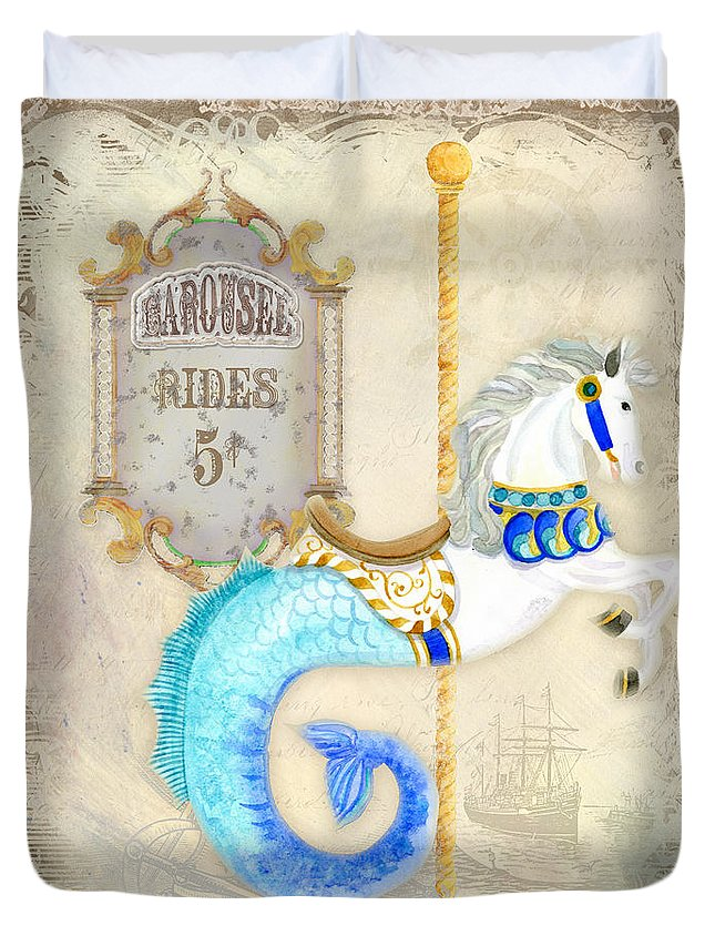 Carousel Duvet Cover featuring the painting Vintage Circus Carousel - Seahorse by Audrey Jeanne Roberts