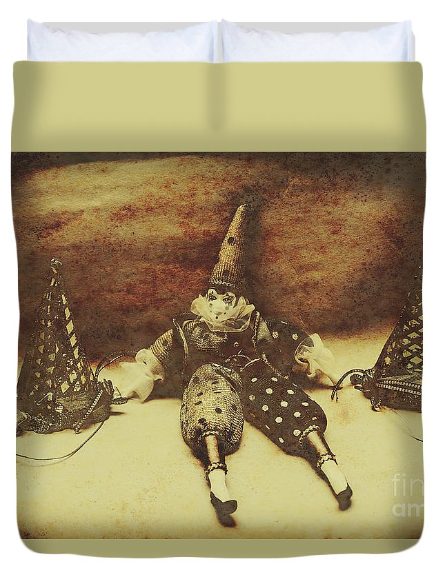 Birthday Duvet Cover featuring the photograph Vintage Clown Doll. Old Parties by Jorgo Photography - Wall Art Gallery