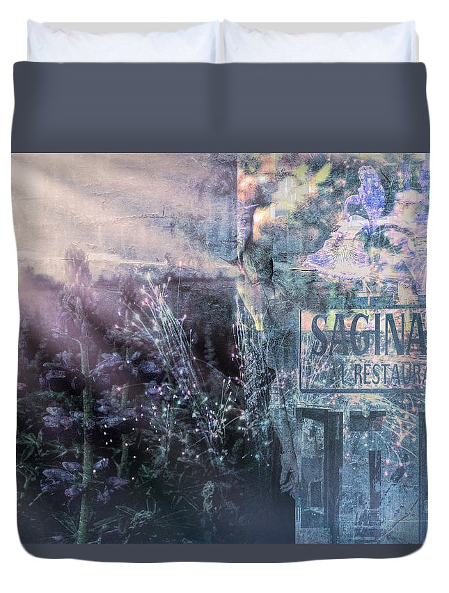 Duvet Cover featuring the digital art Vintage Collage 1 by Cathy Anderson