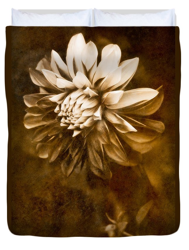 Abstract Duvet Cover featuring the photograph Vintage Dahlia by Venetta Archer