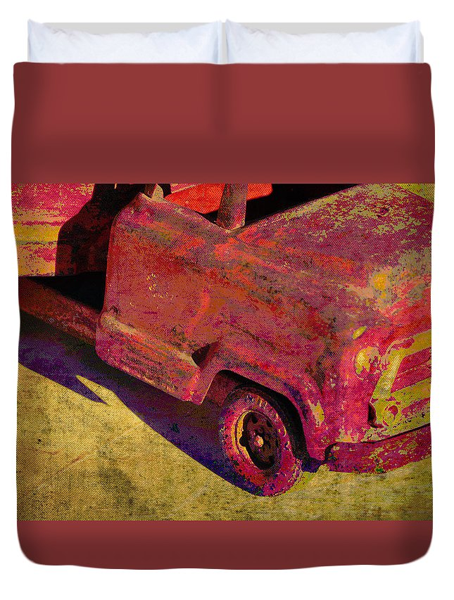 Abstracts Duvet Cover featuring the photograph Vintage Firetruck by Jan Amiss Photography