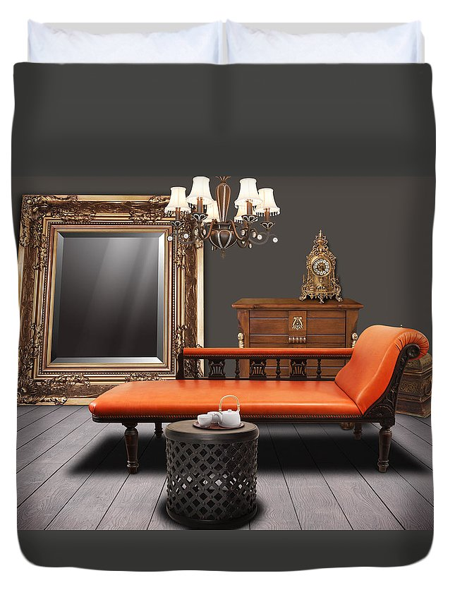 Apartment Duvet Cover featuring the mixed media Vintage Furnitures by Atiketta Sangasaeng