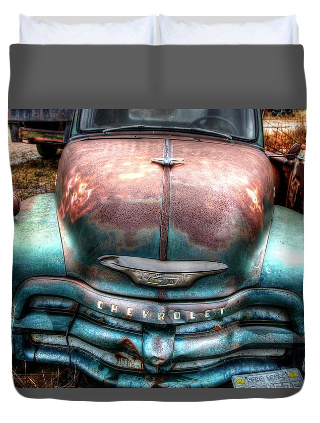 Chevy Duvet Cover featuring the photograph Vintage Green Chevy Truck by Val Niles