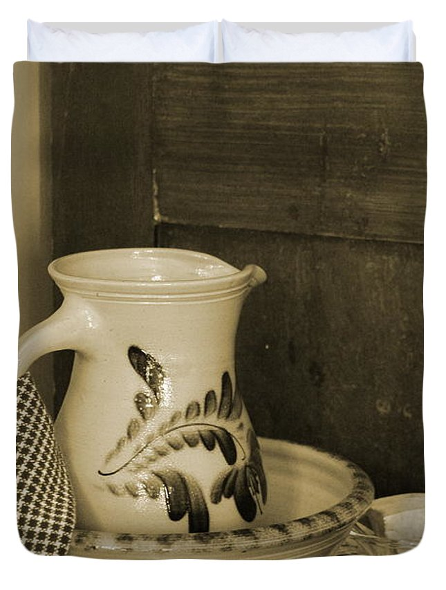 Antique Table Duvet Cover featuring the photograph Vintage Grooming Set And Stoneware Water Pitcher In Sepia Tones by Colleen Cornelius