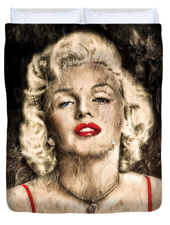 Vintage Duvet Cover featuring the painting Vintage Grunge Goddess Marilyn Monroe by Georgiana Romanovna