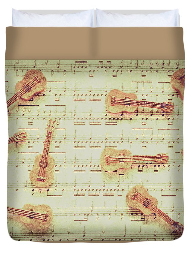 Guitar Duvet Cover featuring the photograph Vintage Guitar Music by Jorgo Photography - Wall Art Gallery