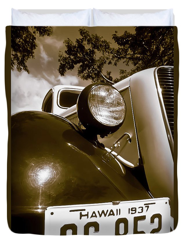 1937 Ford Duvet Cover featuring the photograph 1937 Ford Pickup Truck Maui Hawaii by Jim Cazel
