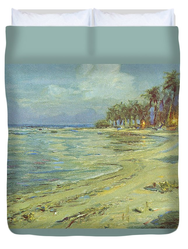 1930 Duvet Cover featuring the painting Vintage Hawaiian Art by Hawaiian Legacy Archive - Printscapes