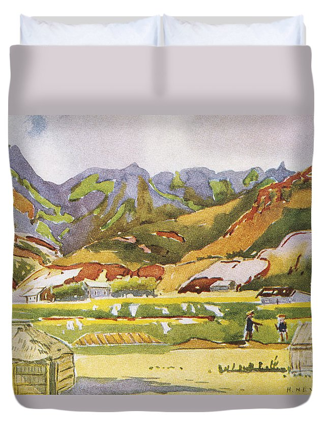 1931 Duvet Cover featuring the painting Vintage Hawaiian Art by Hawaiian Legacy Archive - Printscapes