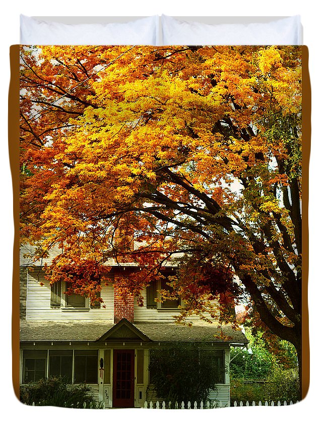 Home Duvet Cover featuring the photograph Vintage Home In Autumn by Pamela Patch