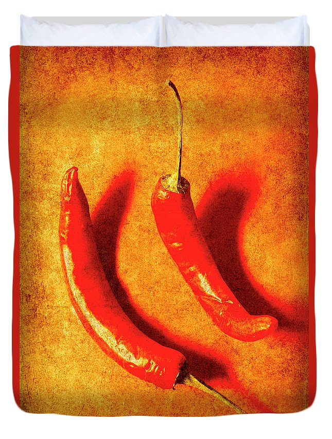 Spice Duvet Cover featuring the photograph Vintage Hot Curry Peppers by Jorgo Photography - Wall Art Gallery