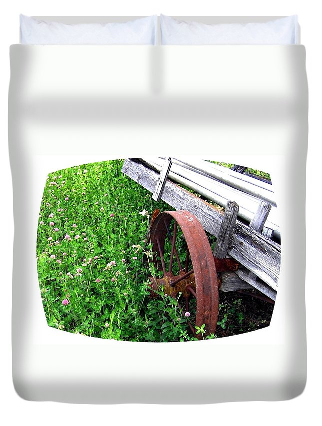Irrigation Wagon Duvet Cover featuring the photograph Vintage Irrigation Wagon by Will Borden