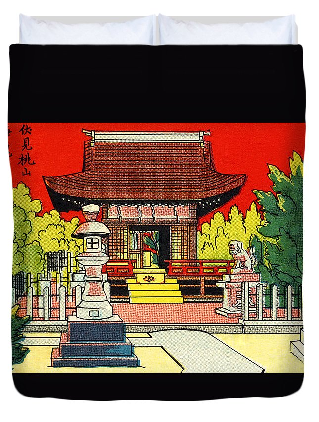 Archival Duvet Cover featuring the painting Vintage Japanese Art 2 by Hawaiian Legacy Archive - Printscapes