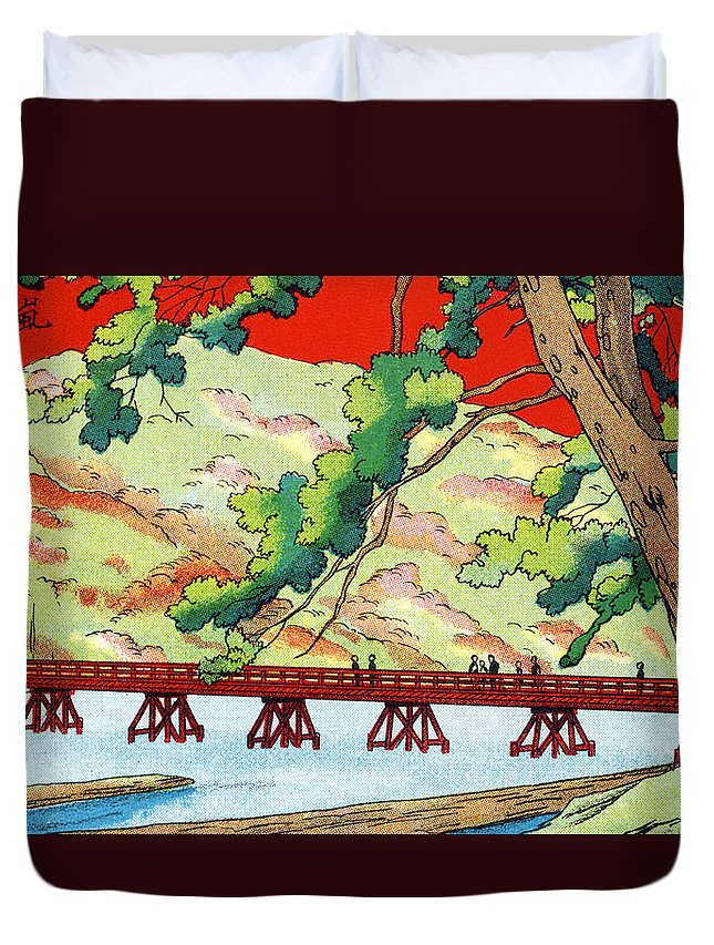 Archival Duvet Cover featuring the painting Vintage Japanese Art 6 by Hawaiian Legacy Archive - Printscapes