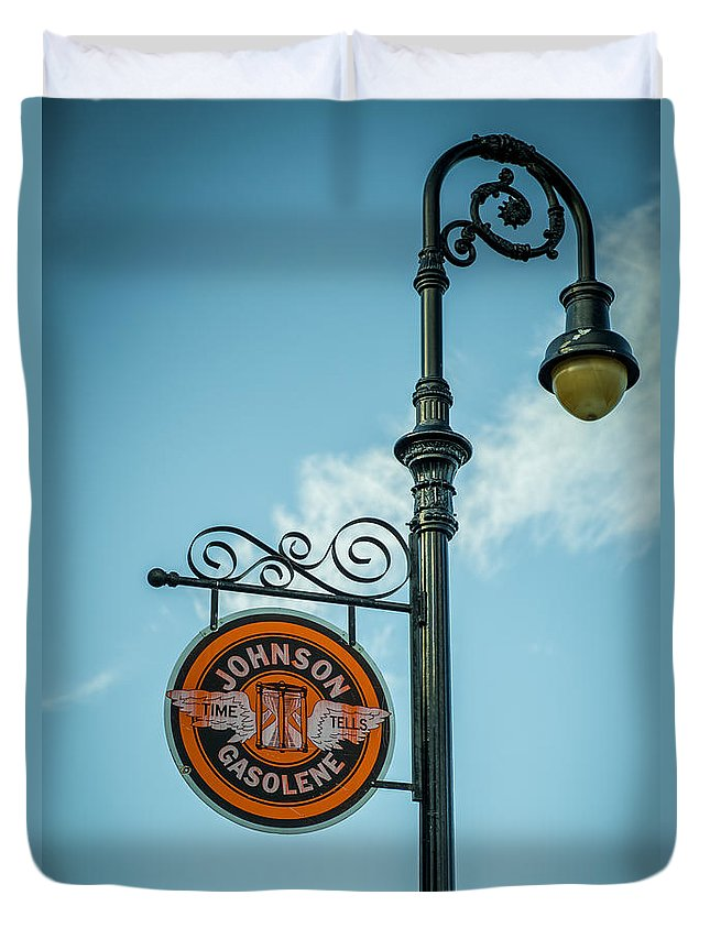 Vintage Lamp And Sign Duvet Cover featuring the photograph Vintage Lamp And Sign by Paul Freidlund