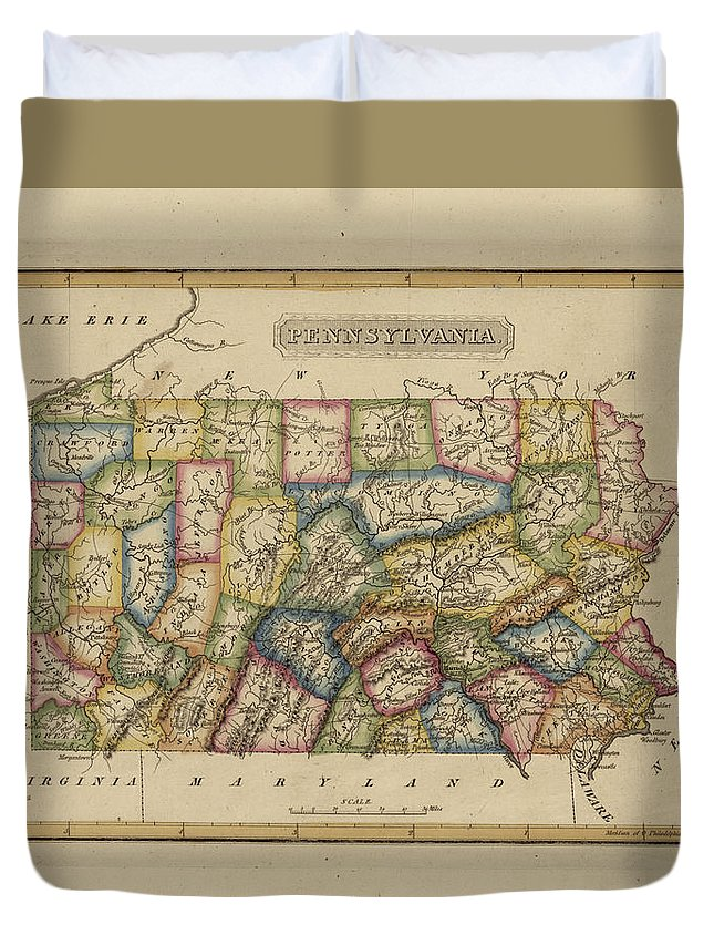 19th Century Duvet Cover featuring the painting Antique Map Of Pennsylvania by Fielding Lucas