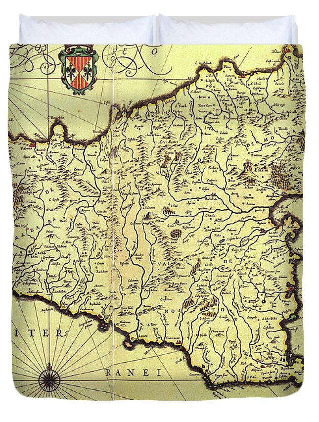 Vintage Map Of Sicily Italy - 1600s Duvet Cover