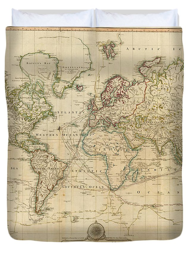 Map Of The World In 1800.Vintage Map Of The World 1800 Duvet Cover For Sale By