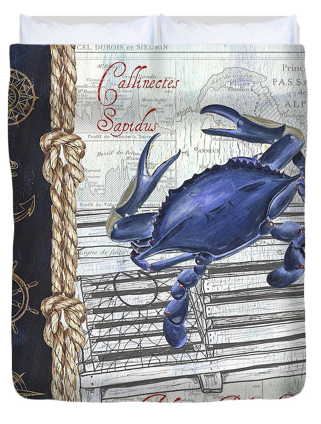 Crab Duvet Cover featuring the painting Vintage Nautical Crab by Debbie DeWitt