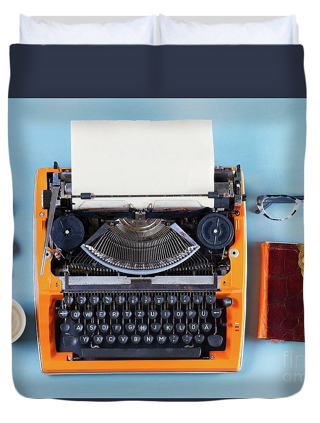 Typewriter Duvet Cover featuring the photograph Everything In Order by Anastasy Yarmolovich