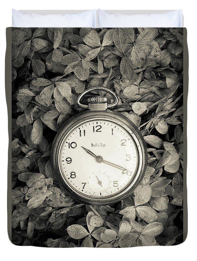 Still Life Duvet Cover featuring the photograph Vintage Pocket Watch Over Flowers by Edward Fielding