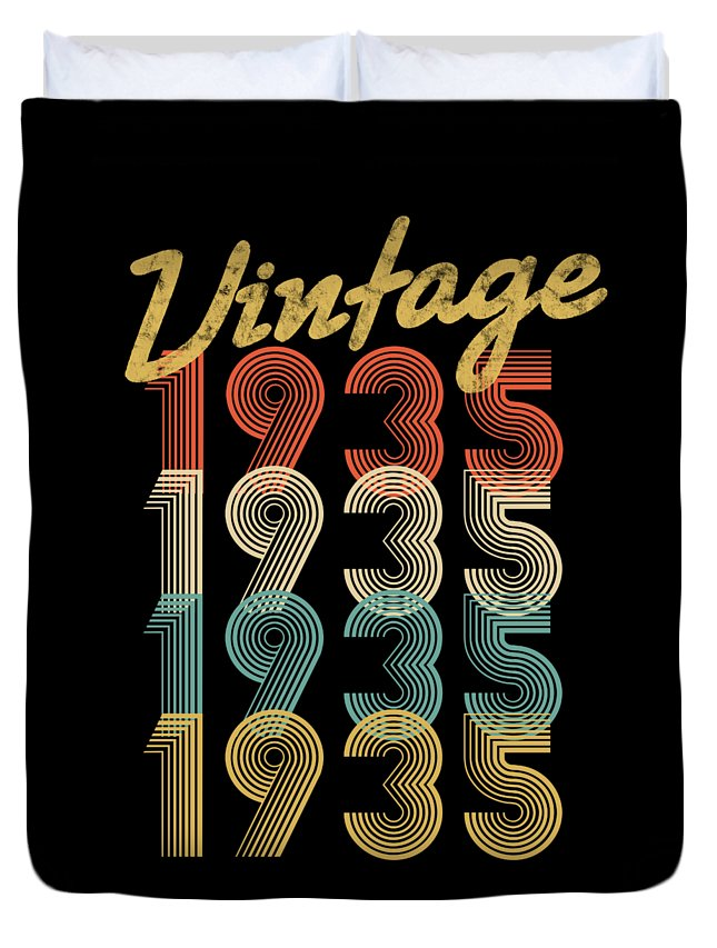 Aged-to-perfection Duvet Cover featuring the digital art Vintage Retro Since 1935 Birthday Gift by Eriel Ocon