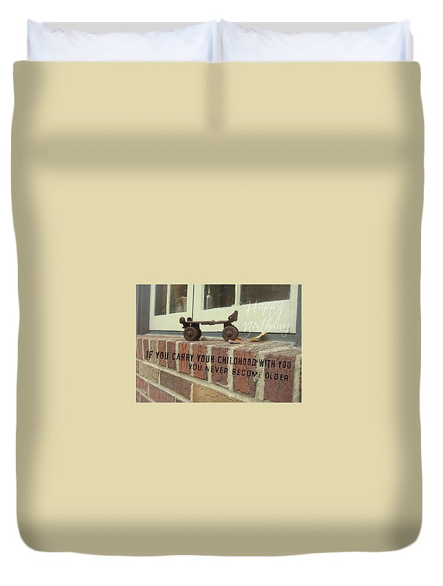 Window Duvet Cover featuring the photograph Vintage Roller Skate Quote by JAMART Photography