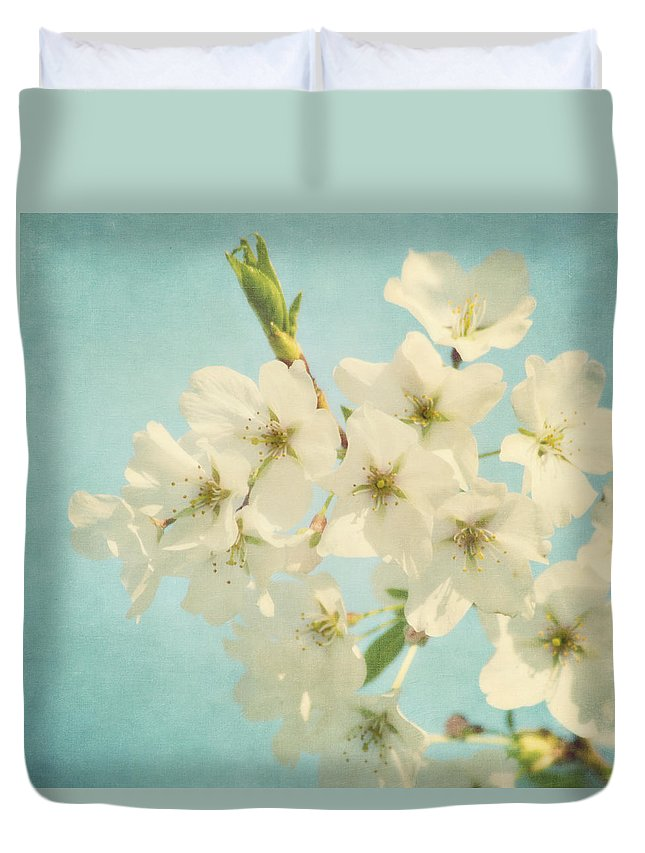 Flower Duvet Cover featuring the photograph Vintage Spring Blossoms by Kim Hojnacki