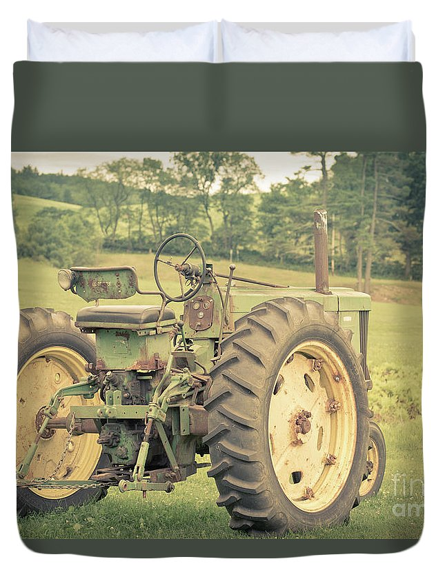 New Hampshire Duvet Cover featuring the photograph Vintage Tractor Keene New Hampshire by Edward Fielding