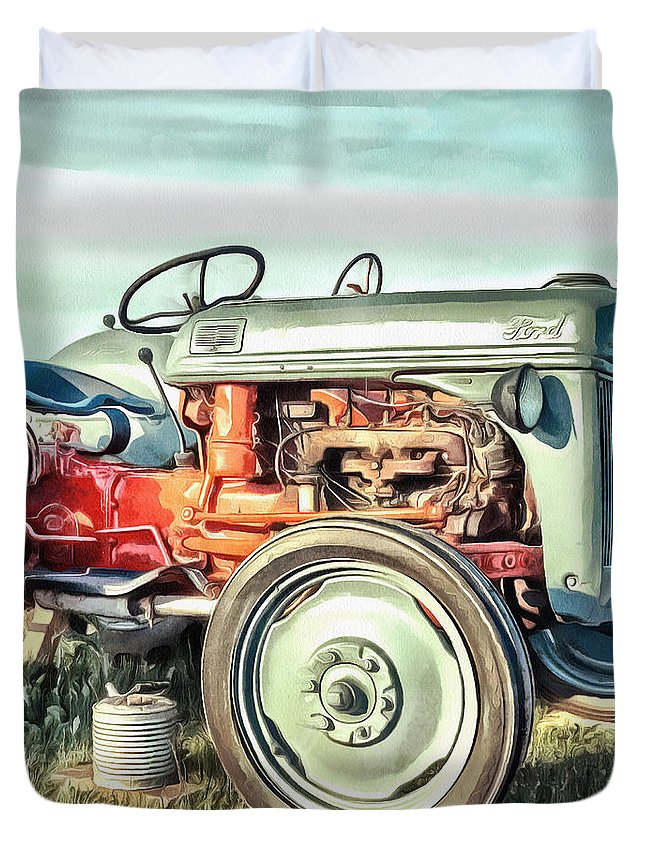 Painting Duvet Cover featuring the painting Vintage Tractors PEI Square by Edward Fielding