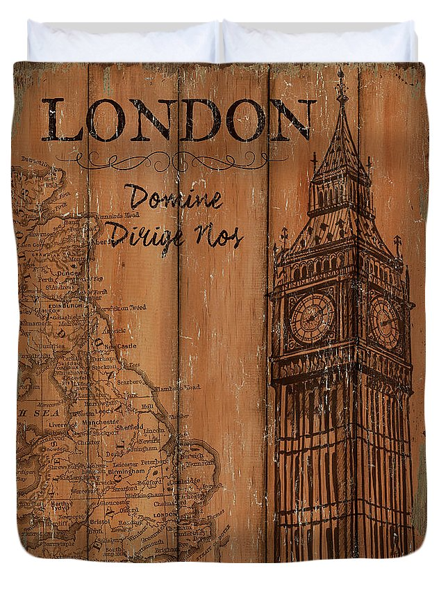 London Duvet Cover featuring the painting Vintage Travel London by Debbie DeWitt