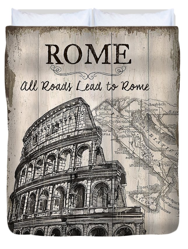 Rome Duvet Cover featuring the painting Vintage Travel Poster by Debbie DeWitt