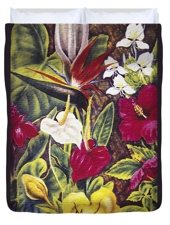 1940 Duvet Cover featuring the painting Vintage Tropical Flowers by Hawaiian Legacy Archive - Printscapes