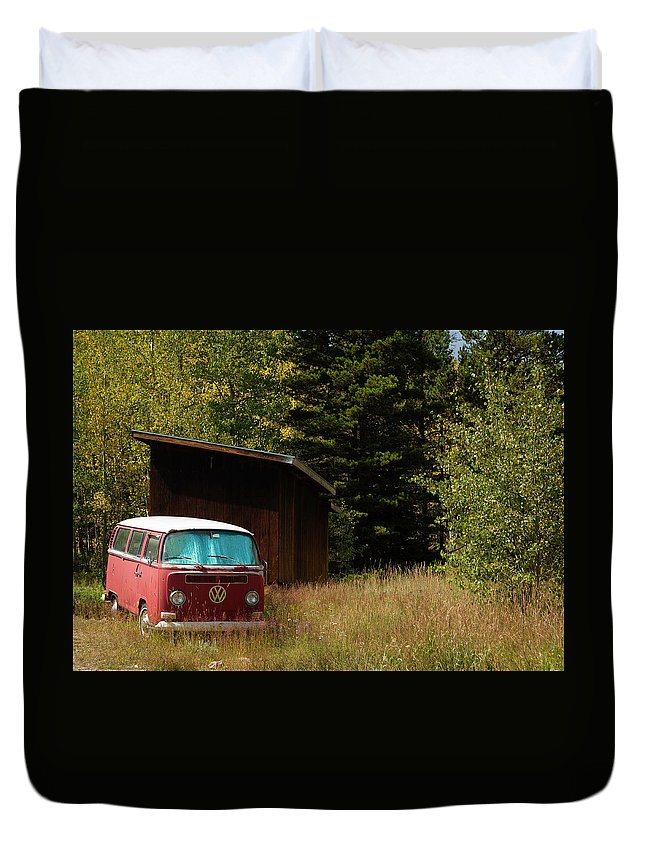 Volkswagen Duvet Cover featuring the photograph Vintage Volkswagen And Aspens 1 by Marilyn Hunt