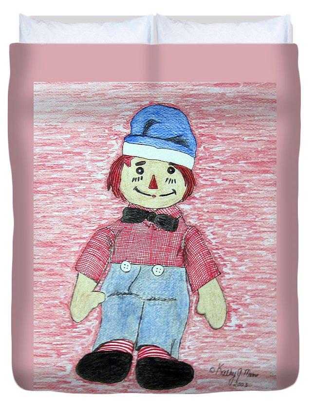 Vintage Duvet Cover featuring the painting Vintage Volland Raggedy Andy Cloth Doll by Kathy Marrs Chandler