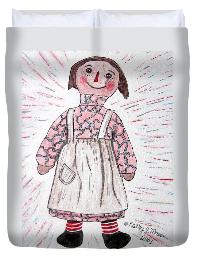 Vintage Duvet Cover featuring the painting Vintage Volland Raggedy Ann Cloth Doll by Kathy Marrs Chandler