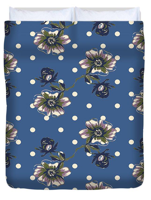 Flower Duvet Cover featuring the digital art Vintage Wallpaper Seamless Rose Flower Pattern On Circles Polka by Svetlana Corghencea