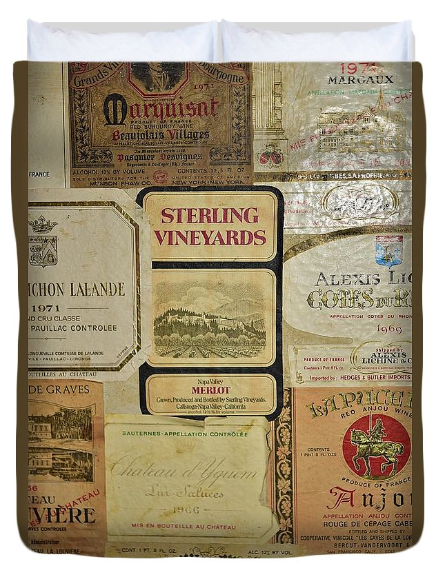 Linda Brody Duvet Cover featuring the photograph Vintage Wine Labels 10 by Linda Brody